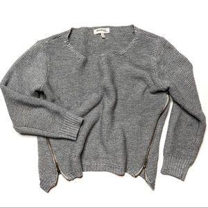 Crop Gray Knit Sweater Zipper Side Scoop Neck